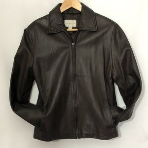 WORTHINGTON genuine lambskin zipper jacket brown